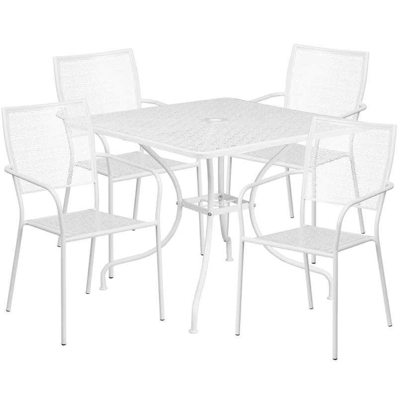 """Flash Furniture 35.5"""" Square White Indoor-Outdoor Steel Patio Table Set with 4 Square Back Chairs"""