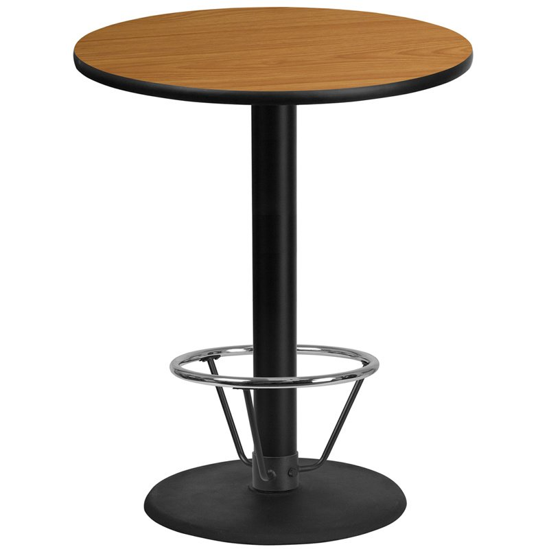 """Flash Furniture 36"""" Round Natural Laminate Table Top with 24"""" Round Bar Height Table Base and Foot Ring (XU-RD-36-NATTB-TR24B-4CFR-GG)"""