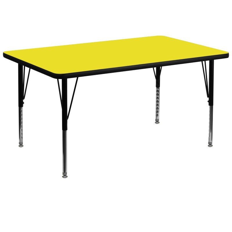 Flash Furniture 36''W x 72''L Rectangular Activity Table with 1.25'' Thick High Pressure Yellow Laminate Top and Height Adjustable Preschool Legs