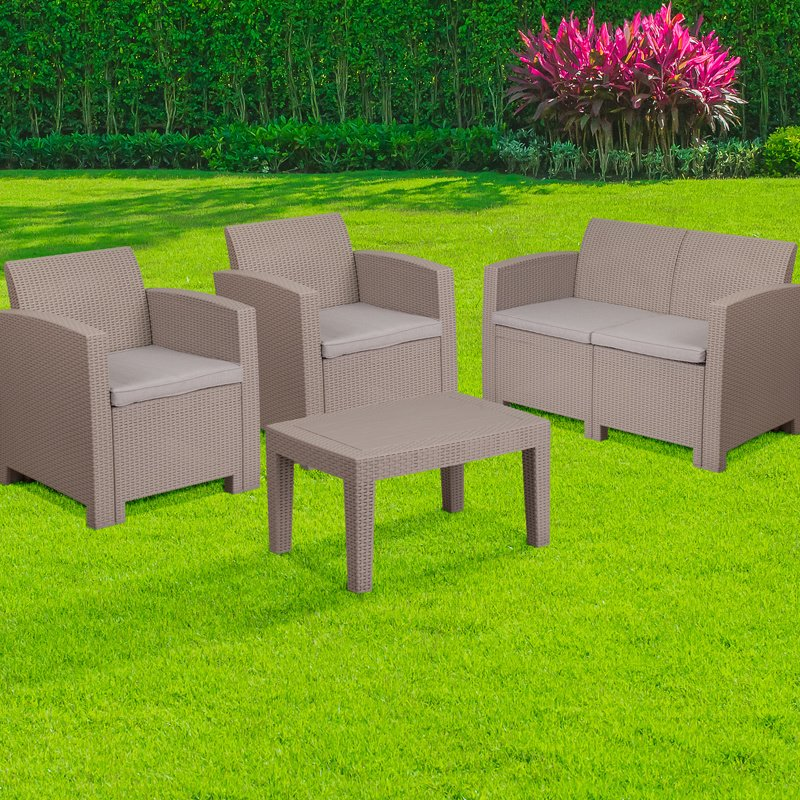 Flash Furniture 4 Piece Outdoor Faux Rattan Chair- Loveseat and Table Set in Charcoal (DAD-SF-112T-CRC-GG)