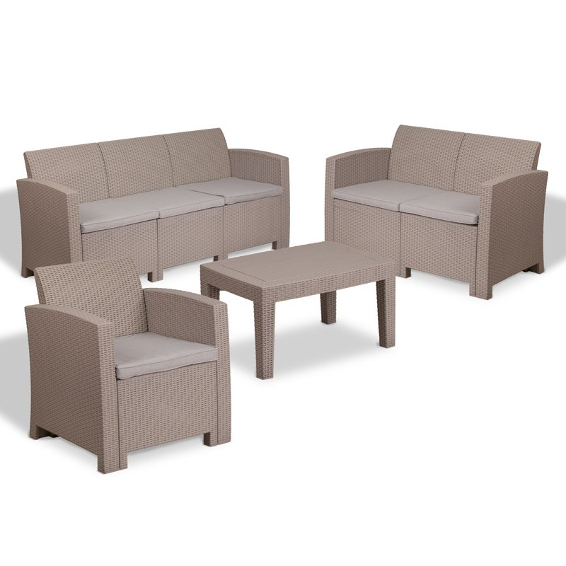Flash Furniture 4 Piece Outdoor Faux Rattan Chair- Loveseat- Sofa and Table Set in Charcoal (DAD-SF-123T-CRC-GG)