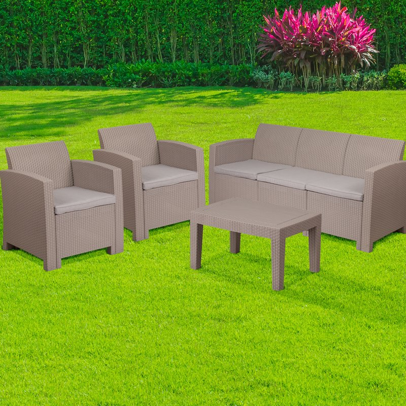 Flash Furniture 4 Piece Outdoor Faux Rattan Chair- Sofa and Table Set in Charcoal (DAD-SF-113T-CRC-GG)