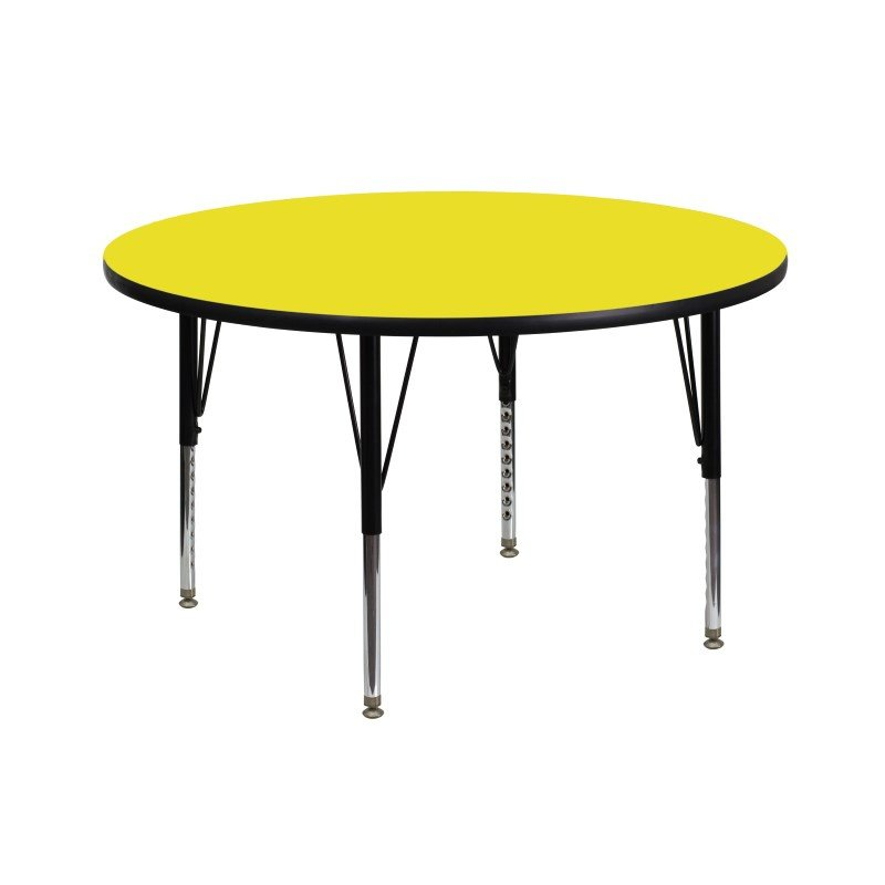 Flash Furniture 42'' Round Activity Table with 1.25'' Thick High Pressure Yellow Laminate Top and Height Adjustable Preschool Legs
