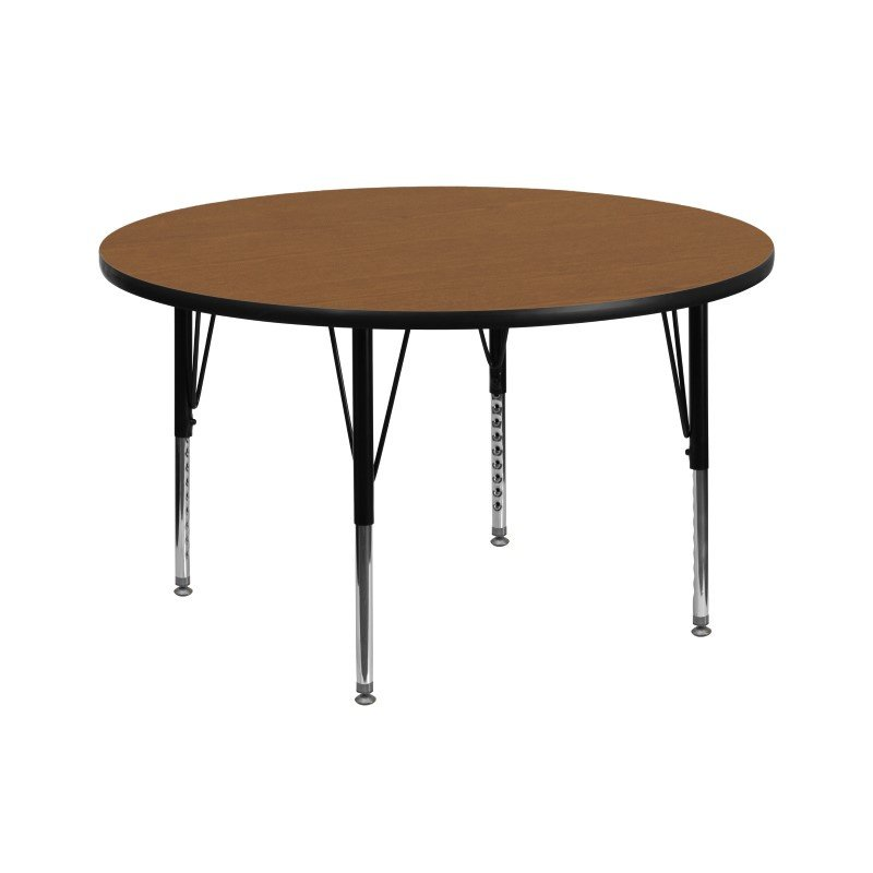 Flash Furniture 42'' Round Activity Table with Oak Thermal Fused Laminate Top and Height Adjustable Preschool Legs