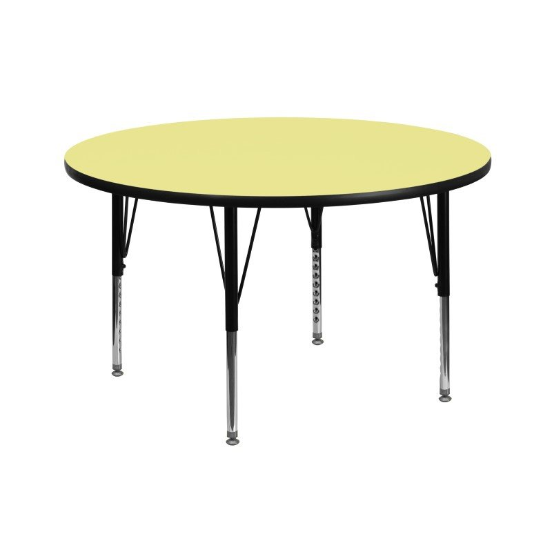 Flash Furniture 42'' Round Activity Table with Yellow Thermal Fused Laminate Top and Height Adjustable Preschool Legs