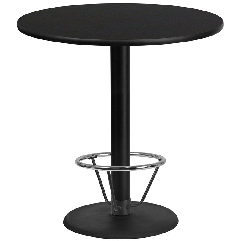 """Flash Furniture 42"""" Round Black Laminate Table Top with 24"""" Round Bar Height Table Base and Foot Ring (XU-RD-42-BLKTB-TR24B-4CFR-GG)"""