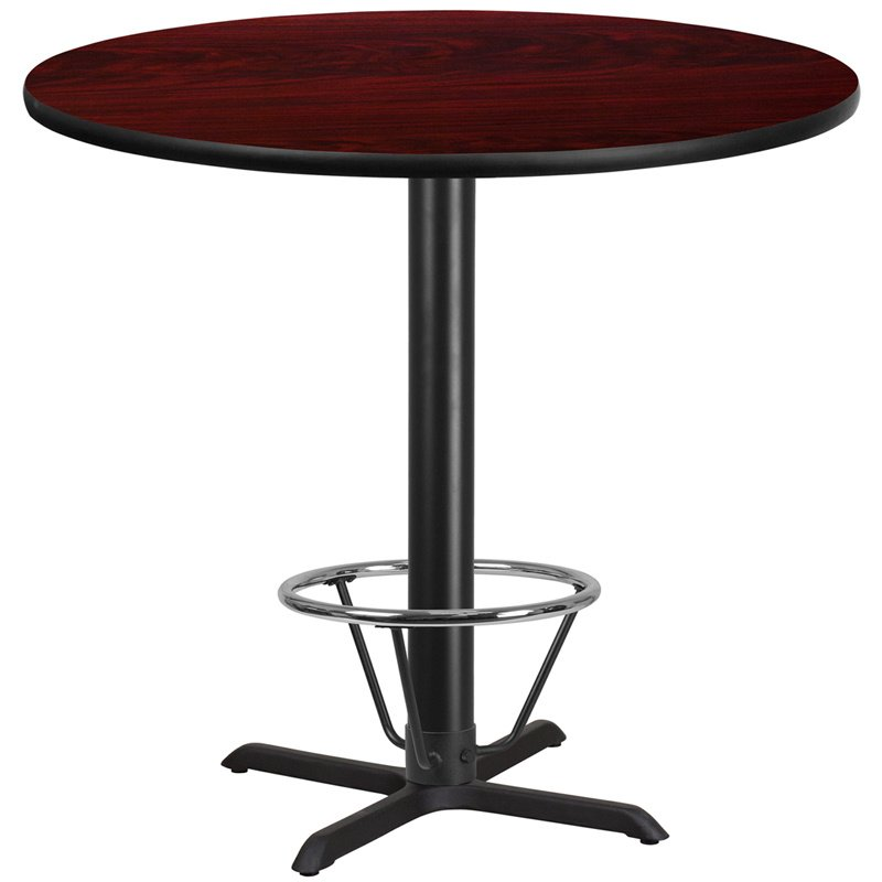 """Flash Furniture 42"""" Round Mahogany Laminate Table Top with 33"""" x 33"""" Bar Height Table Base and Foot Ring (XU-RD-42-MAHTB-T3333B-4CFR-GG)"""