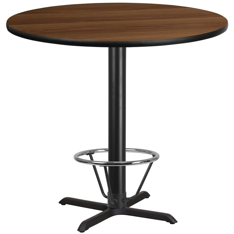 """Flash Furniture 42"""" Round Walnut Laminate Table Top with 33"""" x 33"""" Bar Height Table Base and Foot Ring (XU-RD-42-WALTB-T3333B-4CFR-GG)"""