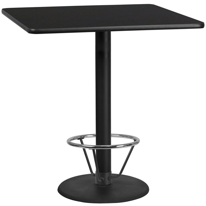 "Flash Furniture 42"" Square Black Laminate Table Top with 24"" Round Bar Height Table Base and Foot Ring (XU-BLKTB-4242-TR24B-4CFR-GG)"