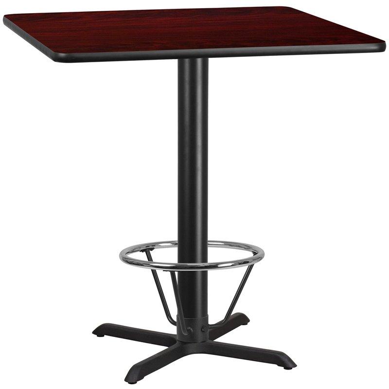 "Flash Furniture 42"" Square Mahogany Laminate Table Top with 33"" x 33"" Bar Height Table Base and Foot Ring (XU-MAHTB-4242-T3333B-4CFR-GG)"