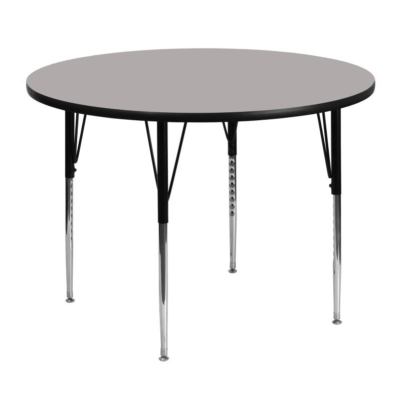 Flash Furniture 48'' Round Activity Table with 1.25'' Thick High Pressure Grey Laminate Top and Standard Height Adjustable Legs