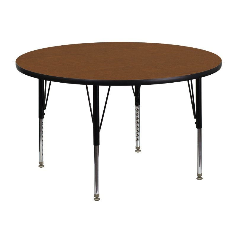 Flash Furniture 48'' Round Activity Table with 1.25'' Thick High Pressure Oak Laminate Top and Height Adjustable Preschool Legs