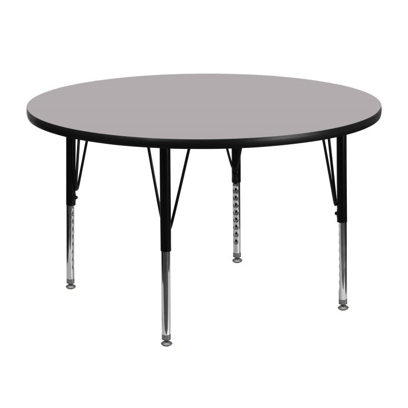 Flash Furniture 48'' Round Activity Table with Grey Thermal Fused Laminate Top and Height Adjustable Preschool Legs