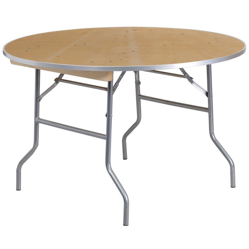 Flash Furniture 48'' Round HEAVY DUTY Birchwood Folding Banquet Table with METAL Edges