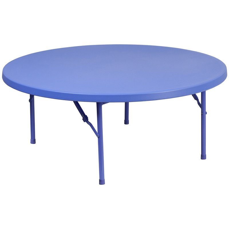 "Flash Furniture 48"" Round Kid's Blue Plastic Folding Table (RB-48R-KID-BL-GG)"