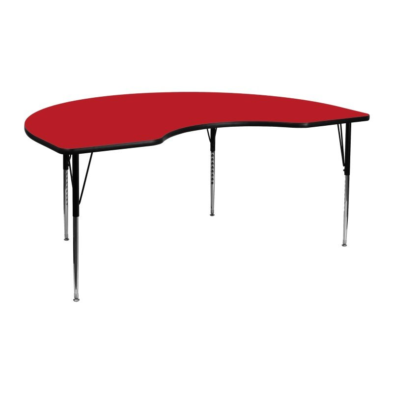 Flash Furniture 48''W x 72''L Kidney Shaped Activity Table with 1.25'' Thick High Pressure Red Laminate Top and Standard Height Adjustable Legs