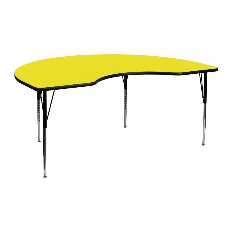 Flash Furniture 48''W x 72''L Kidney Shaped Activity Table with 1.25'' Thick High Pressure Yellow Laminate Top and Standard Height Adjustable Legs