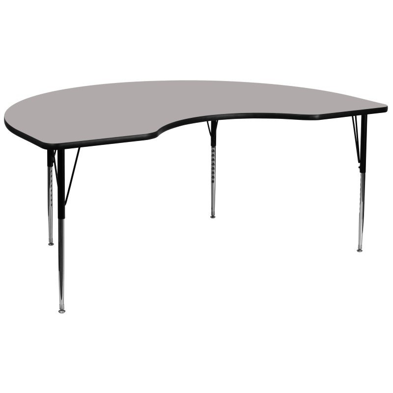 Flash Furniture 48''W x 96''L Kidney Shaped Activity Table with 1.25'' Thick High Pressure Grey Laminate Top and Standard Height Adjustable Legs
