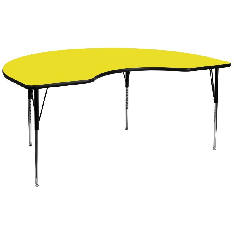 Flash Furniture 48''W x 96''L Kidney Shaped Activity Table with 1.25'' Thick High Pressure Yellow Laminate Top and Standard Height Adjustable Legs