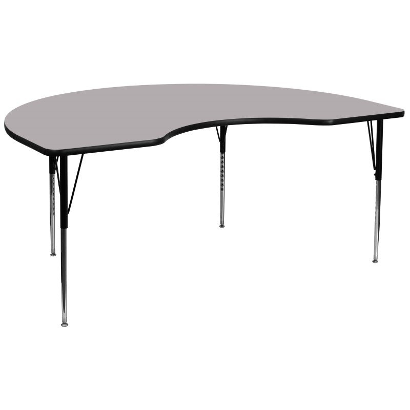 Flash Furniture 48''W x 96''L Kidney Shaped Activity Table with Grey Thermal Fused Laminate Top and Standard Height Adjustable Legs