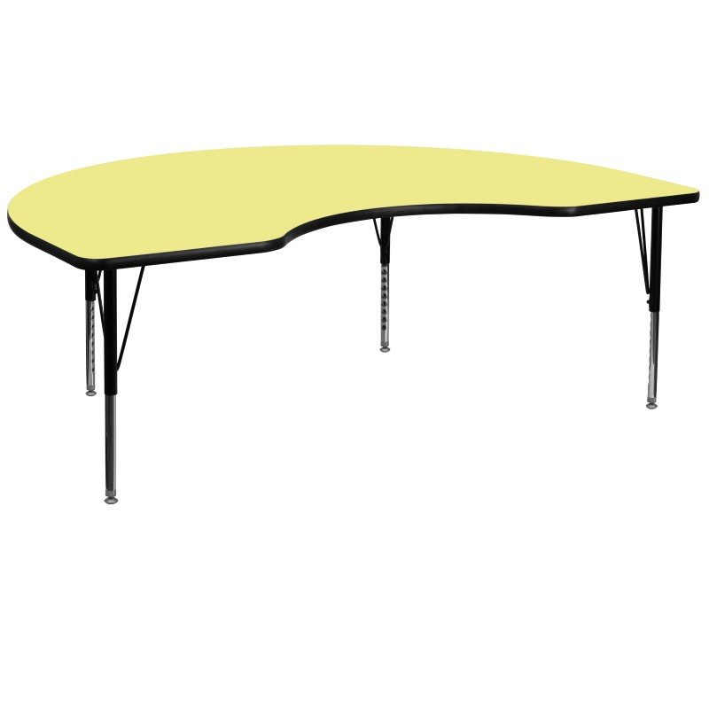 Flash Furniture 48''W x 96''L Kidney Shaped Activity Table with Yellow Thermal Fused Laminate Top and Height Adjustable Preschool Legs