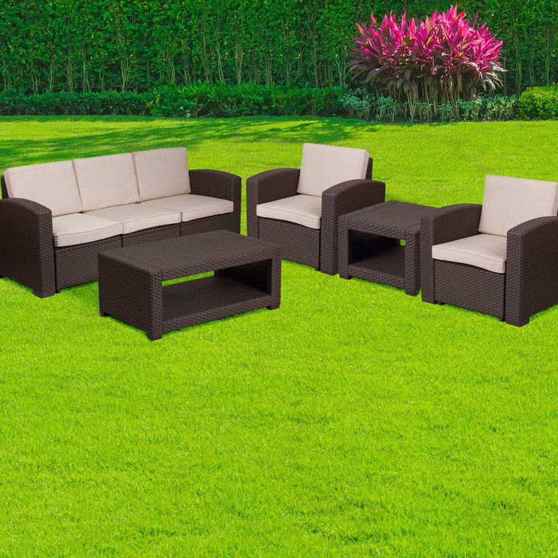 Flash Furniture 5 Piece Outdoor Faux Rattan Chair- Sofa and Table Set in Chocolate Brown (DAD-SF-113TEE-CBN-GG)