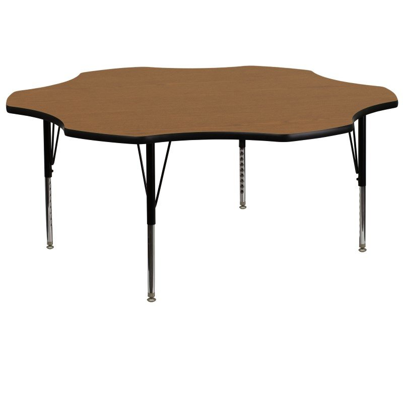 Flash Furniture 60'' Flower Shaped Activity Table with Oak Thermal Fused Laminate Top and Height Adjustable Preschool Legs