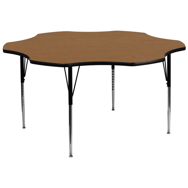 Flash Furniture 60'' Flower Shaped Activity Table with Oak Thermal Fused Laminate Top and Standard Height Adjustable Legs