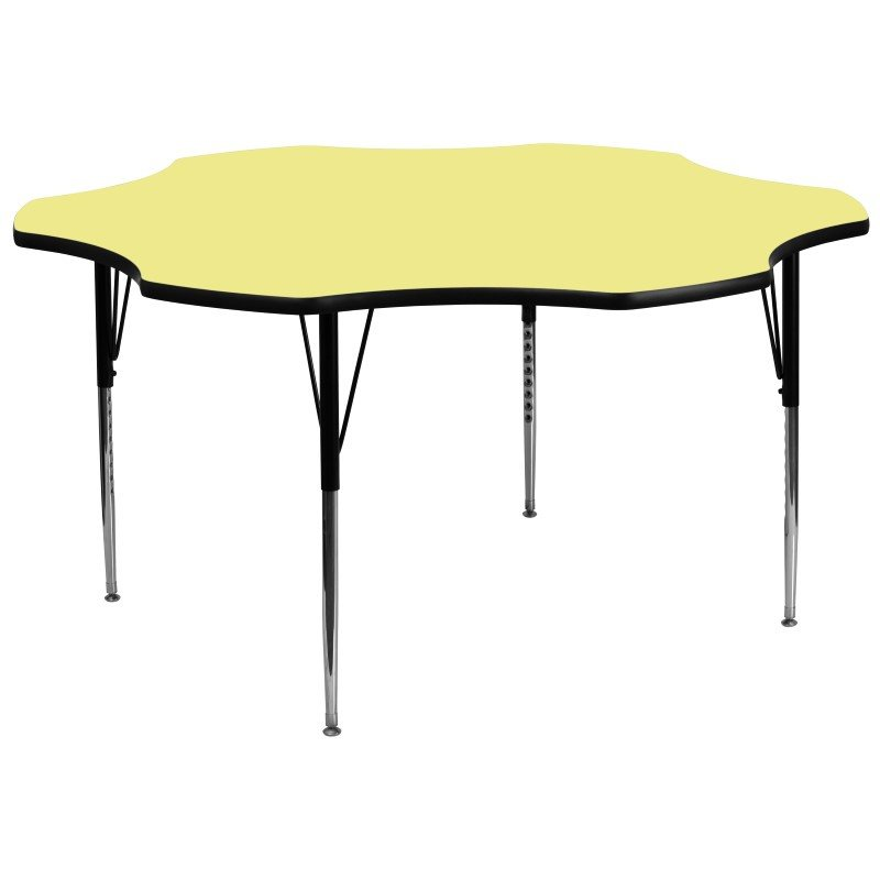 Flash Furniture 60'' Flower Shaped Activity Table with Yellow Thermal Fused Laminate Top and Standard Height Adjustable Legs