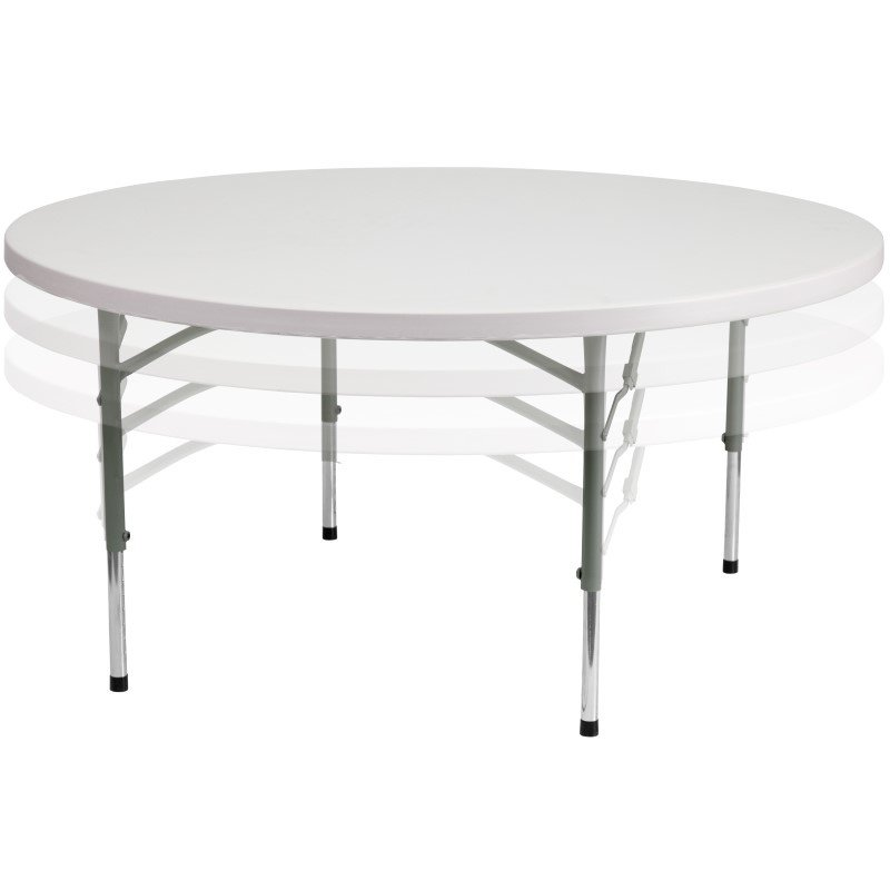 Flash Furniture 60'' Round Height Adjustable Granite White Plastic Folding Table