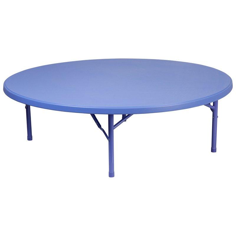 "Flash Furniture 60"" Round Kid's Blue Plastic Folding Table (RB-60R-KID-BL-GG)"