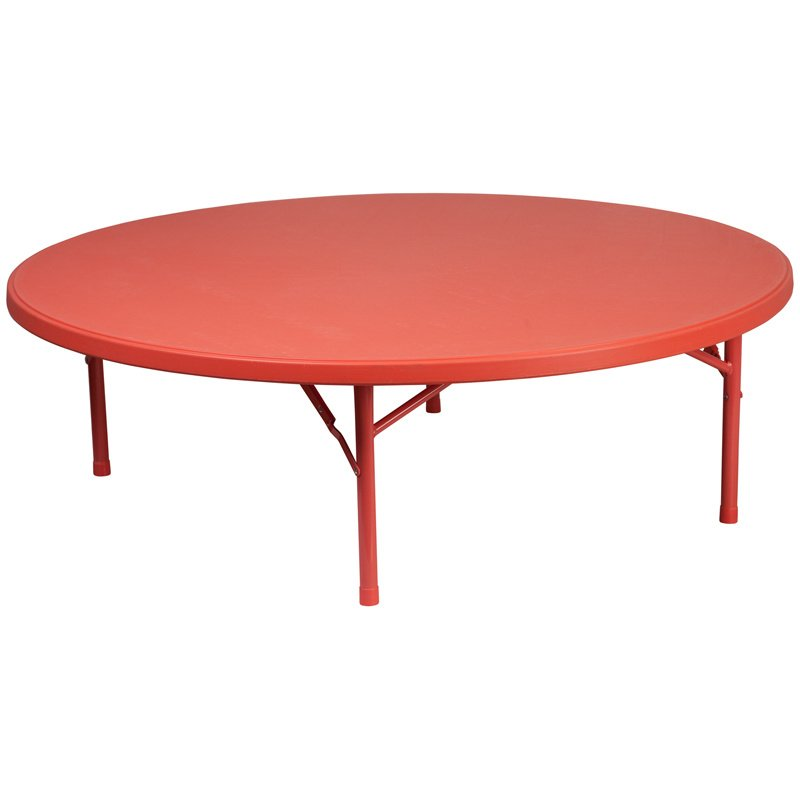 "Flash Furniture 60"" Round Kid's Red Plastic Folding Table (RB-60R-KID-RD-GG)"