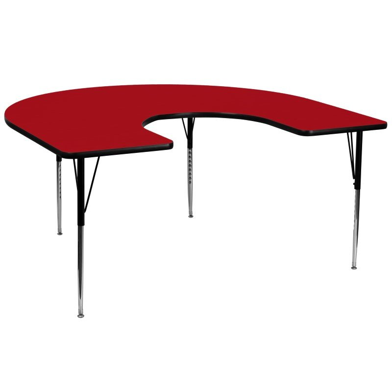 Flash Furniture 60''W x 66''L Horseshoe Shaped Activity Table with Red Thermal Fused Laminate Top and Standard Height Adjustable Legs