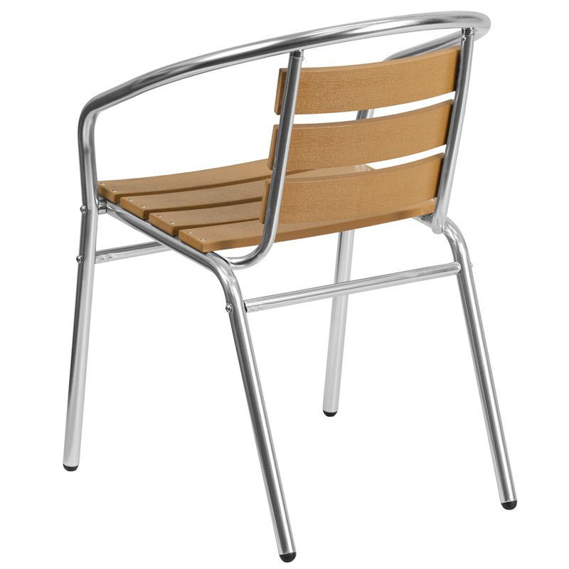 Flash Furniture Aluminum Commercial Indoor-Outdoor Restaurant Stack Chair with Triple Slat Faux Teak Back (TLH-017W-GG)