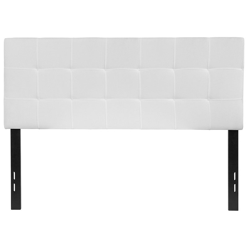 Flash Furniture Bedford Tufted Upholstered Full Size Headboard in White Fabric (HG-HB1704-F-W-GG)