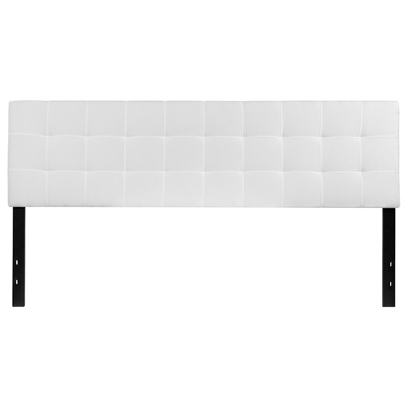 Flash Furniture Bedford Tufted Upholstered King Size Headboard in White Fabric (HG-HB1704-K-W-GG)