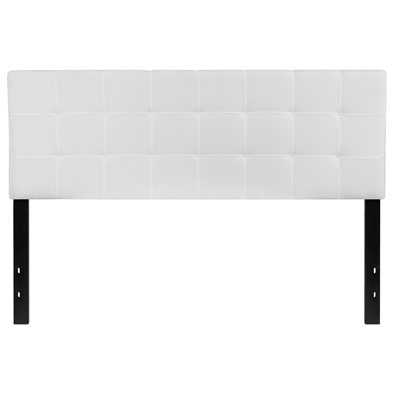Flash Furniture Bedford Tufted Upholstered Queen Size Headboard in White Fabric (HG-HB1704-Q-W-GG)