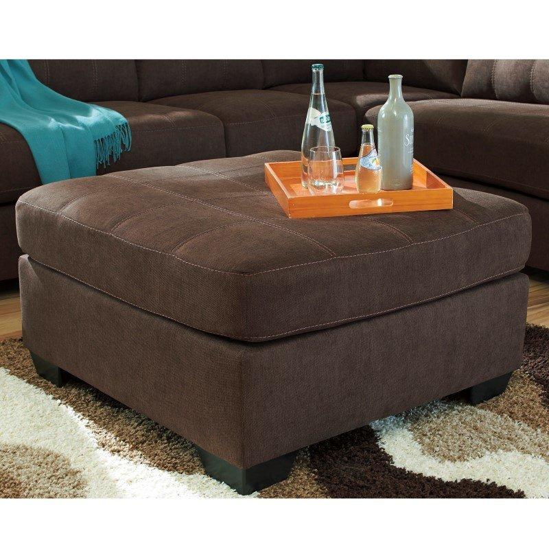 Flash Furniture Benchcraft Maier Oversized Accent Ottoman in Walnut Microfiber