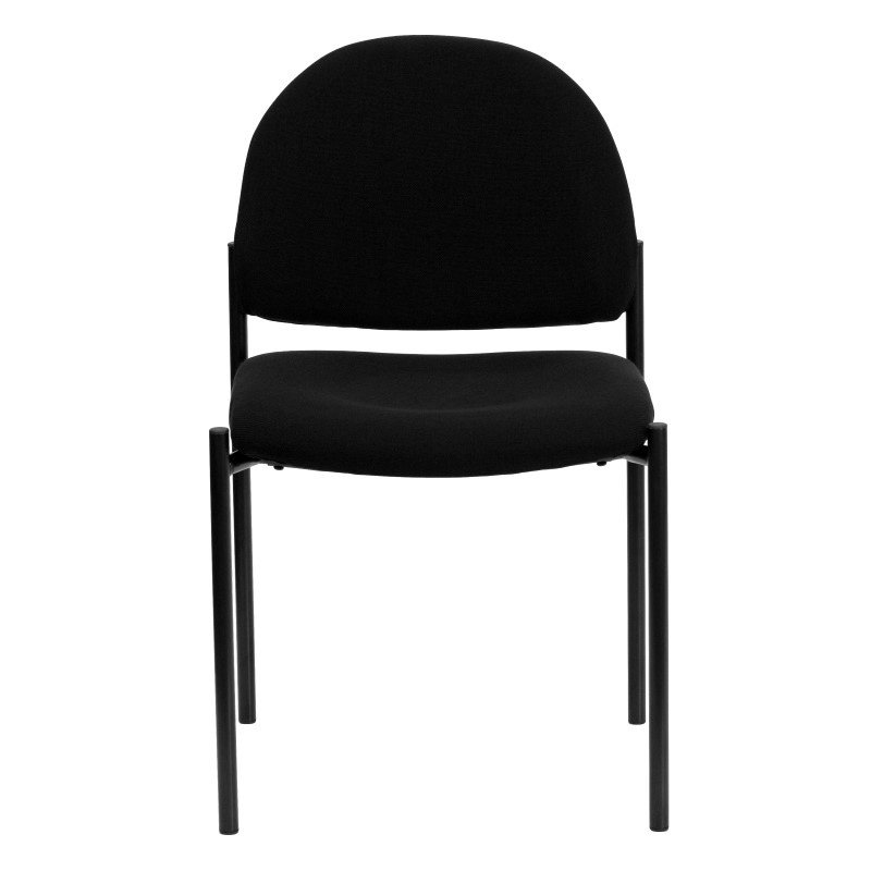 Flash Furniture Black Fabric Comfortable Stackable Steel Side Chair