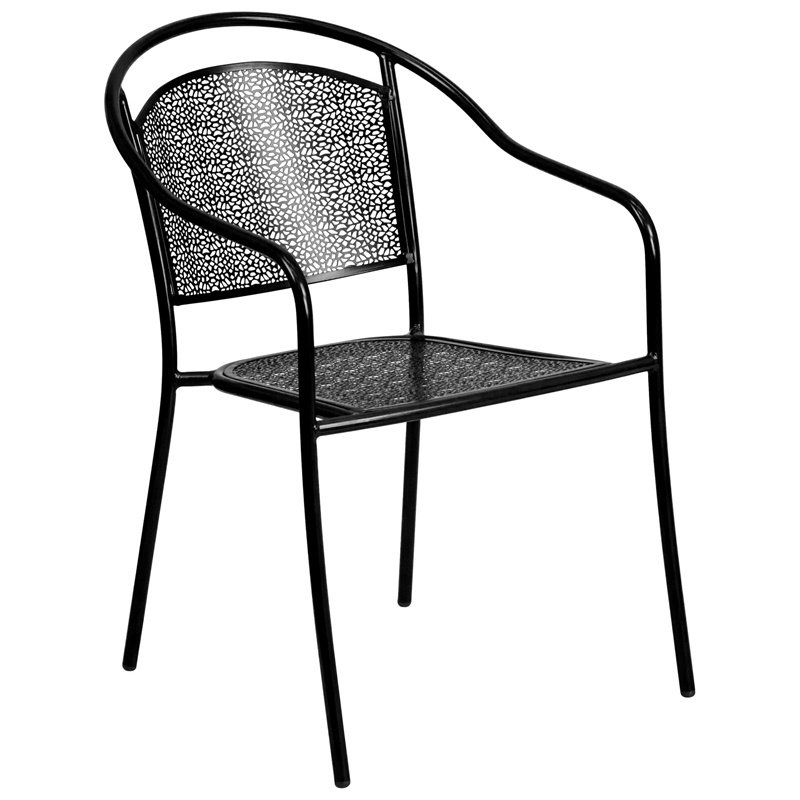 Flash Furniture Black Indoor-Outdoor Steel Patio Arm Chair with Round Back (CO-3-BK-GG)