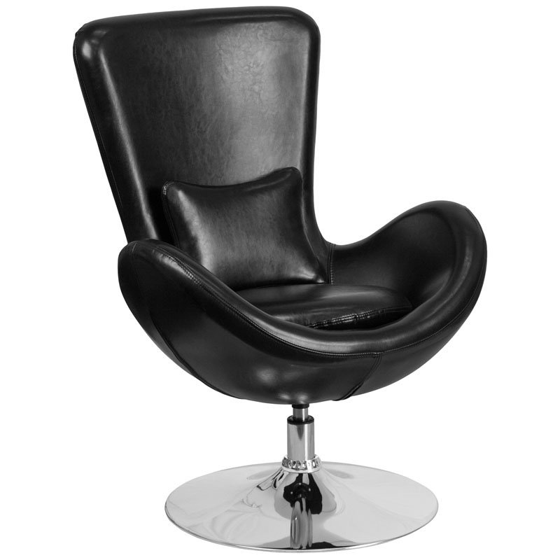 Flash Furniture Black Leather Egg Series Reception-Lounge-Side Chair