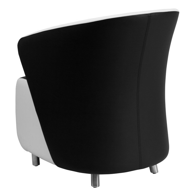 Flash Furniture Black Leather Reception Chair with White Detailing