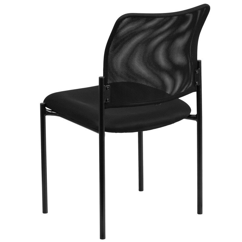 Flash Furniture Black Mesh Comfortable Stackable Steel Side Chair