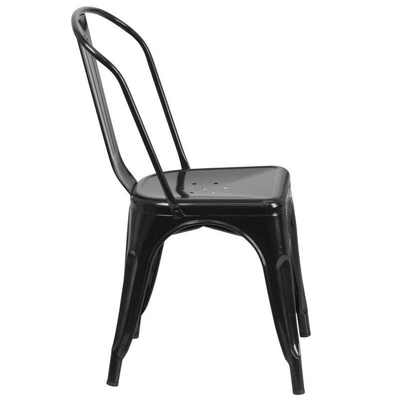 Flash Furniture Black Metal Indoor-Outdoor Stackable Chair