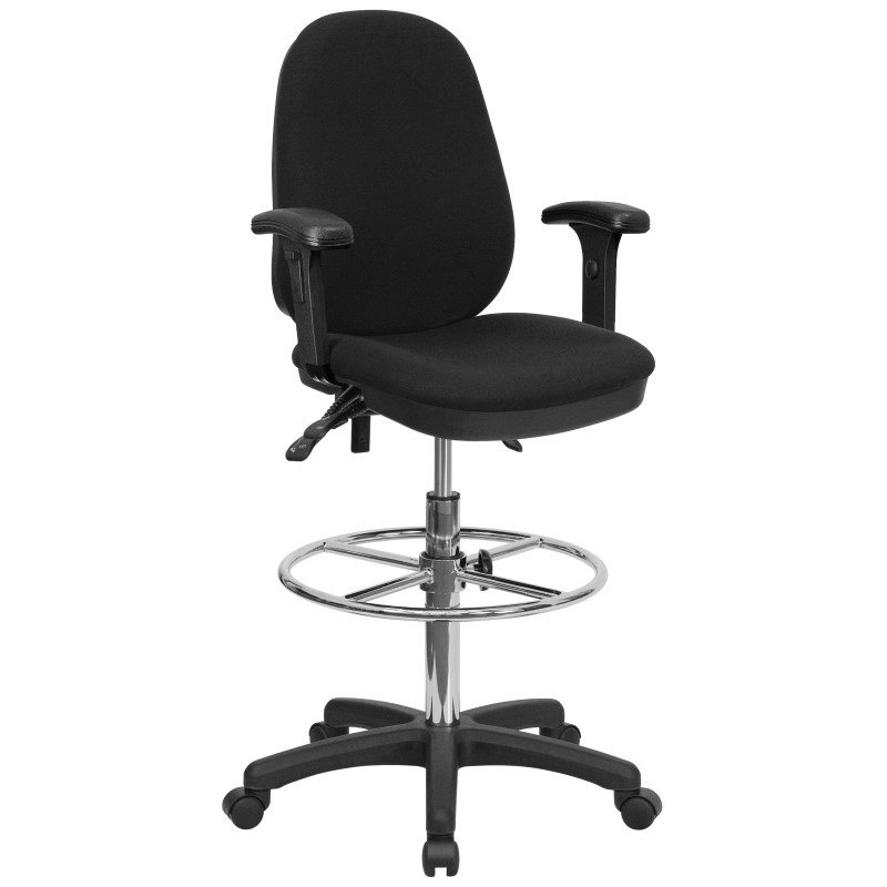 Flash Furniture Black Multi-Functional Ergonomic Drafting Chair with Adjustable Foot Ring and Height Adjustable Arms