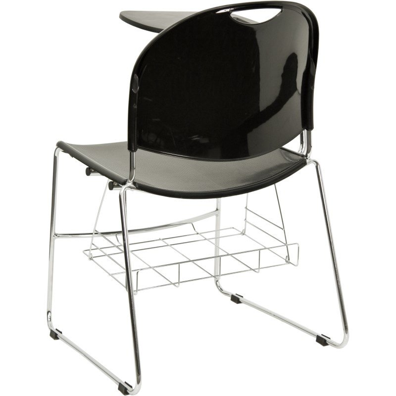 Flash Furniture Black Plastic Chair with Right Handed Flip-Up Tablet Arm and Chrome Frame