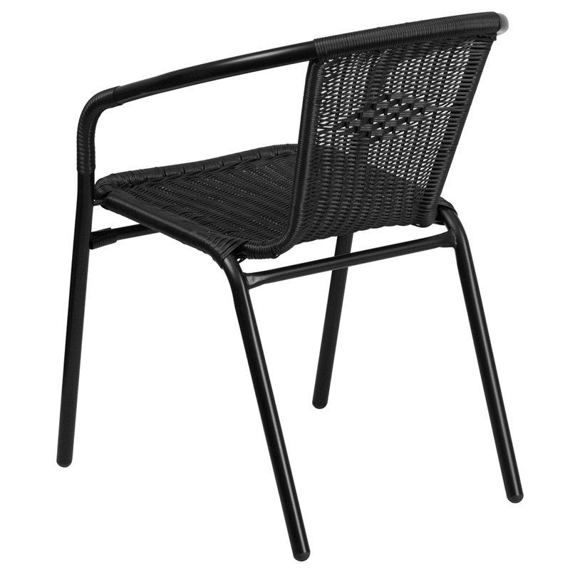 Flash Furniture Black Rattan Indoor-Outdoor Restaurant Stack Chair (TLH-037-BK-GG)