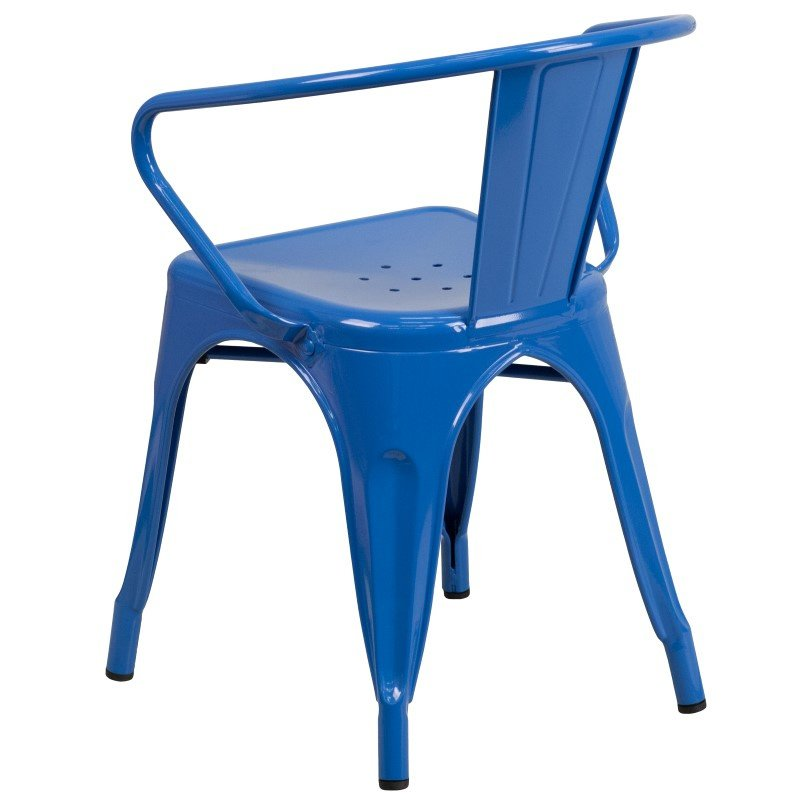Flash Furniture Blue Metal Indoor-Outdoor Chair with Arms