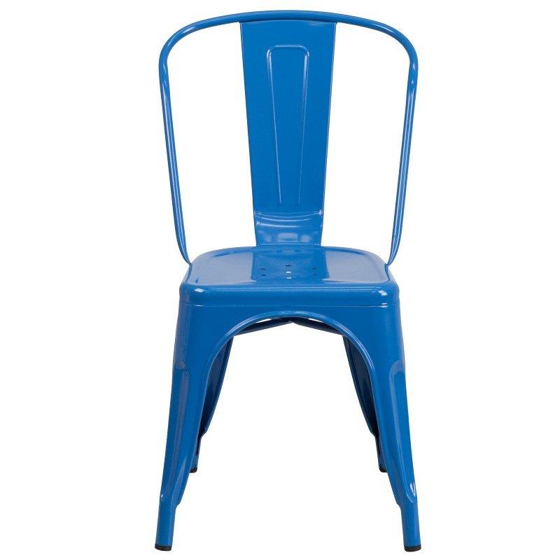 Flash Furniture Blue Metal Indoor-Outdoor Stackable Chair