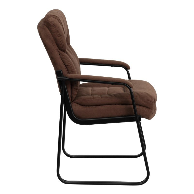 Flash Furniture Brown Microfiber Executive Side Chair with Sled Base